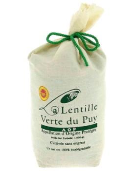 Lentilles vertes AOP du Puy en sac tissu 1 kg la brûlerie le Puy en Velay